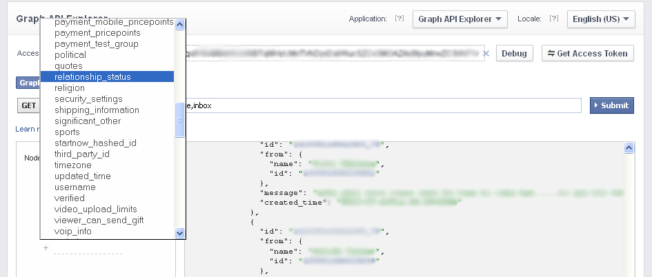 Facebook Graph API Explorer