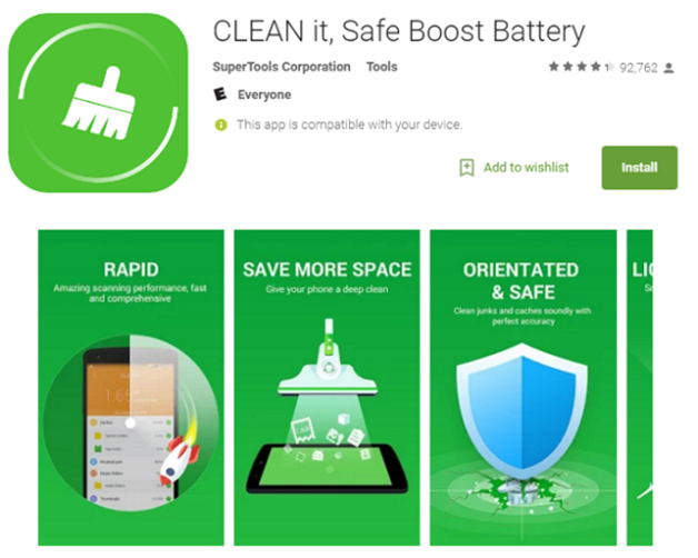 Clean it, Safe Boost Battery App